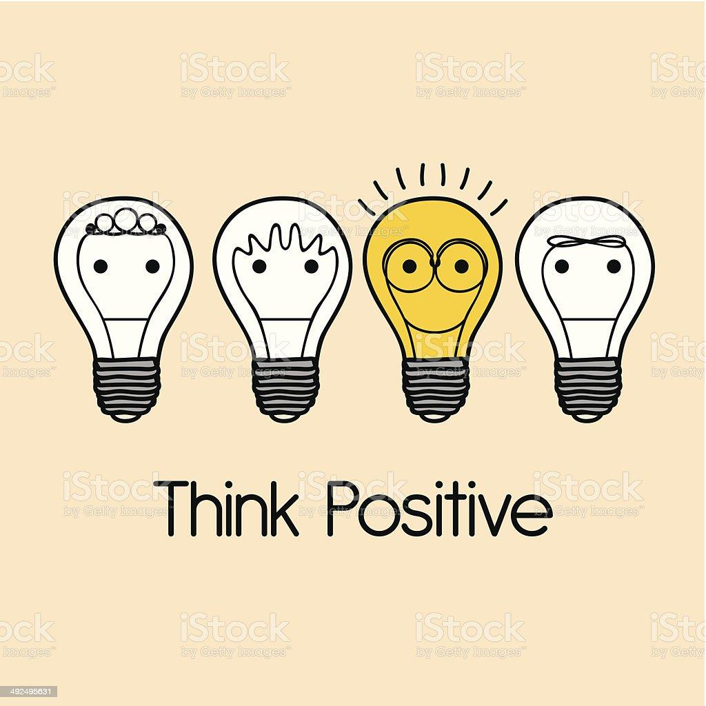 Think  Positive vector art illustration