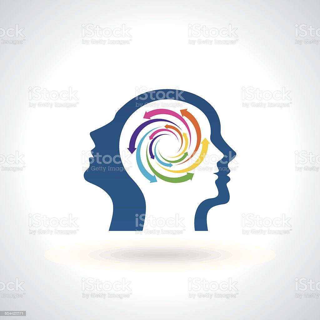 think Thoughts and options. vector illustration of head vector art illustration