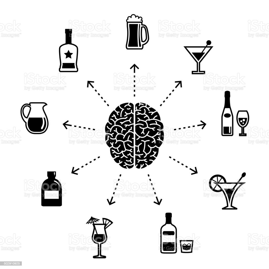 Thinking About Alcohol vector art illustration