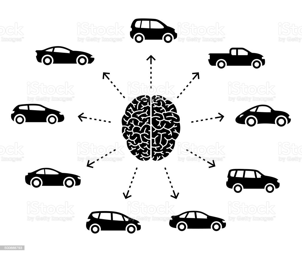 Thinking About Cars vector art illustration