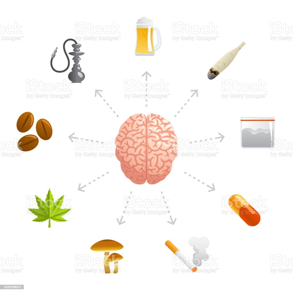 Thinking About Drugs vector art illustration