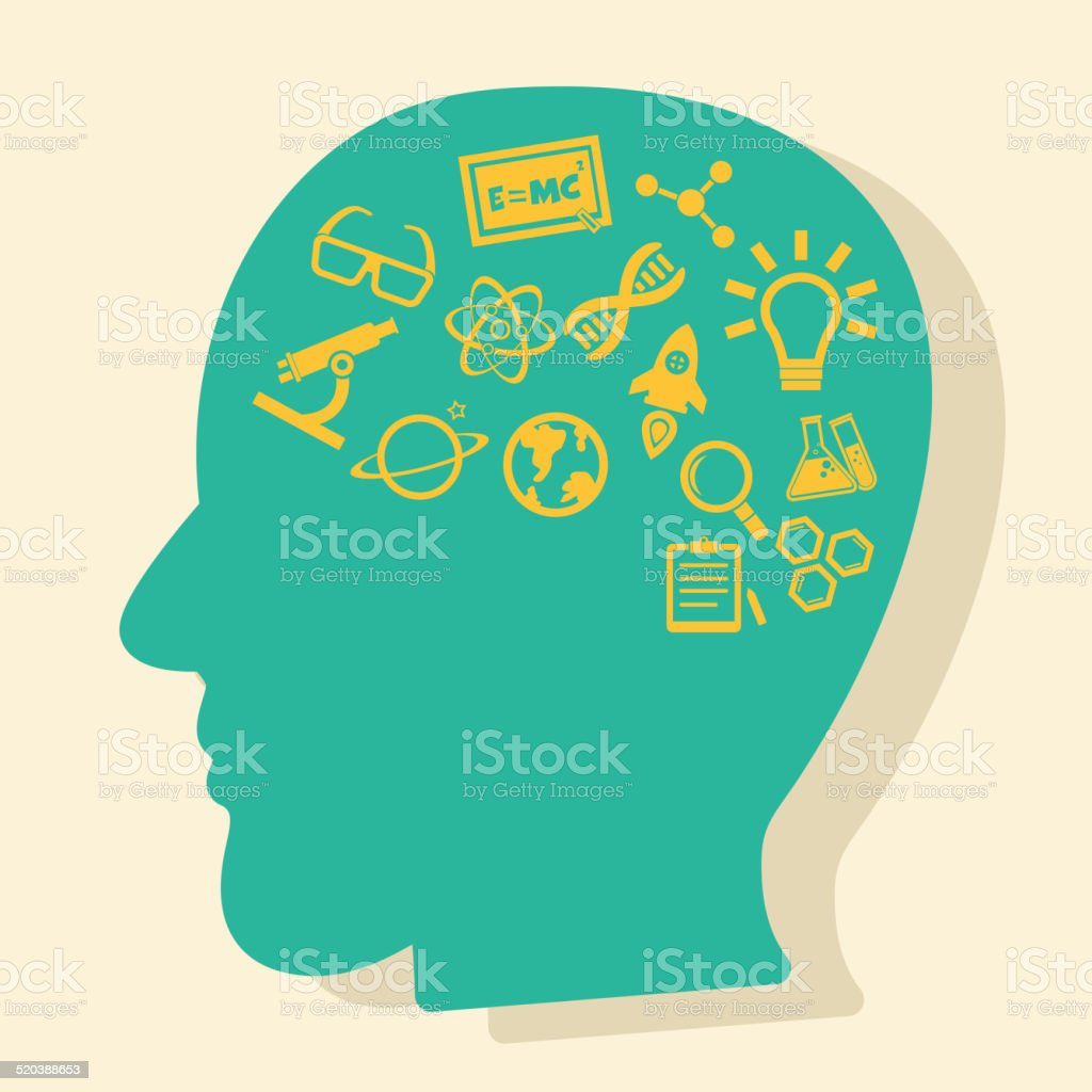 thinking about science vector art illustration