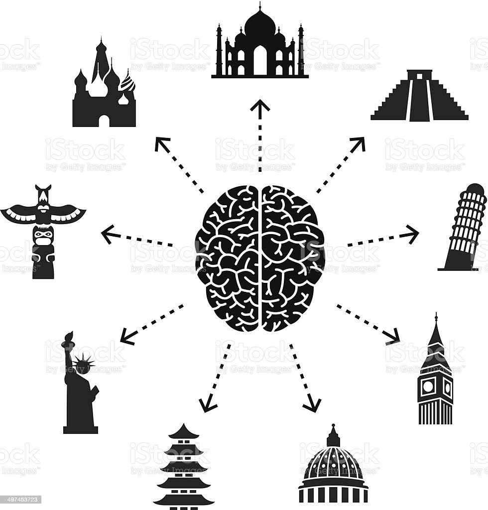 Thinking About Travel vector art illustration