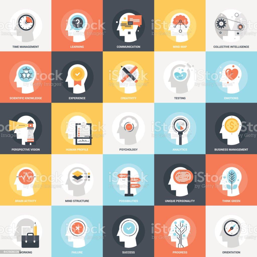Thinking and Brain Activity vector art illustration