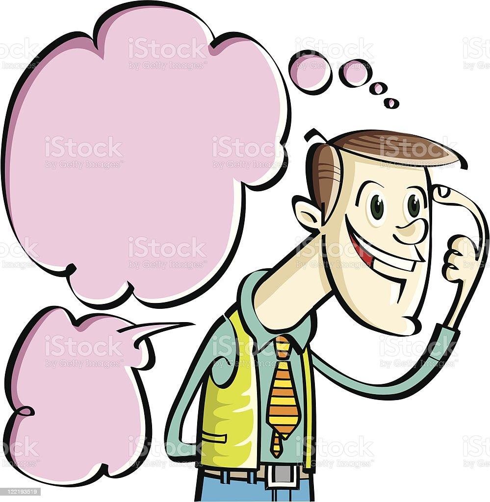 thinking and talking vector art illustration