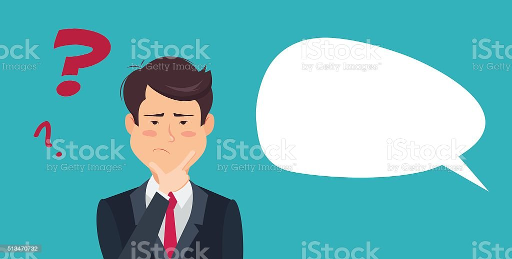Thinking asian businessman with question mark. vector art illustration