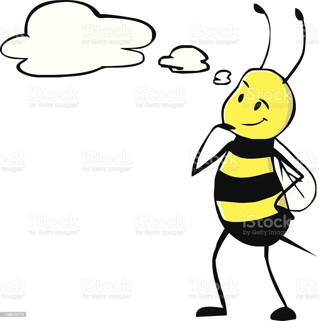 Thinking Bee vector art illustration