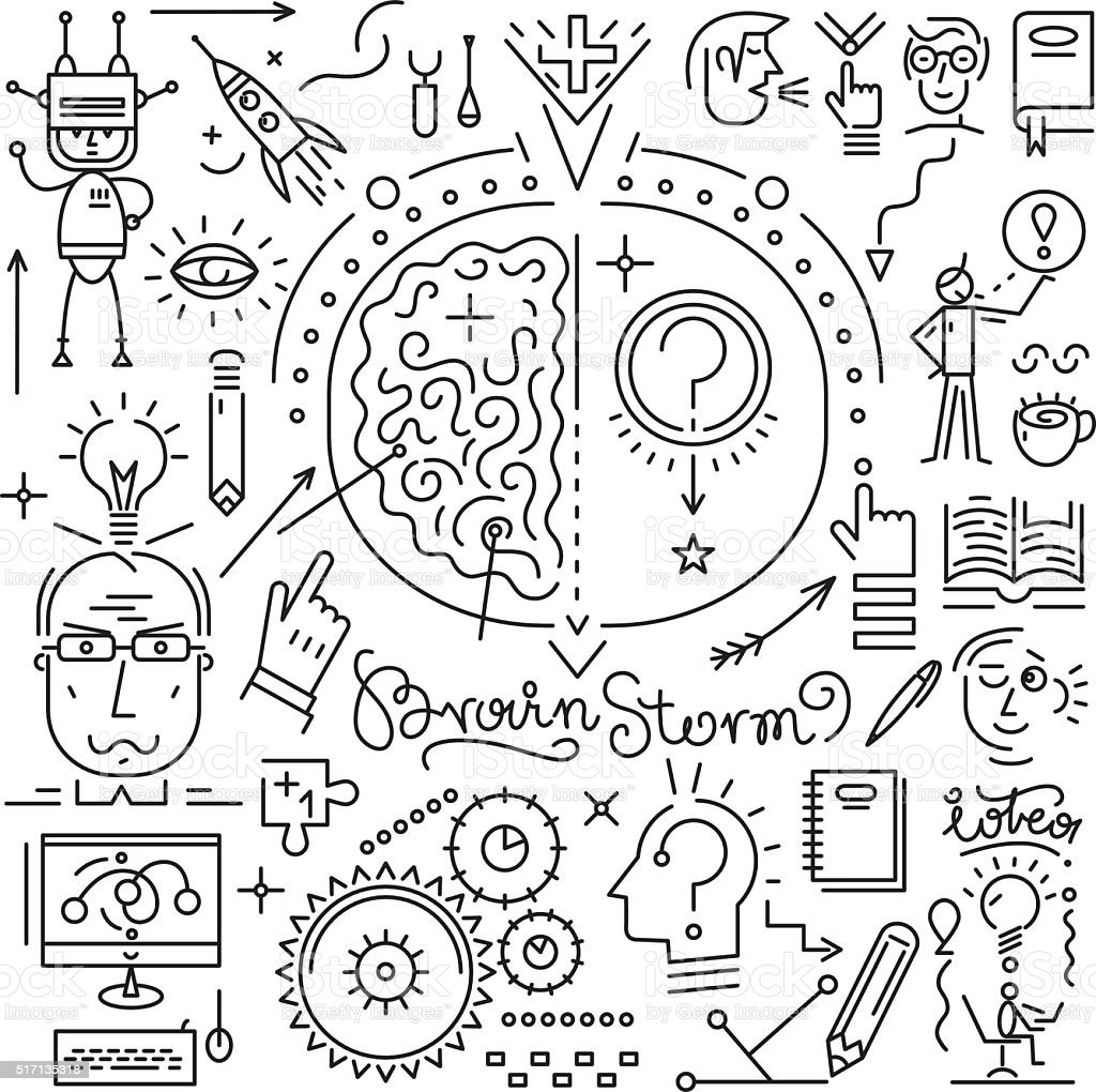Thinking , brainstorm , science icons vector art illustration