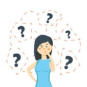 Thinking business woman standing under question marks.