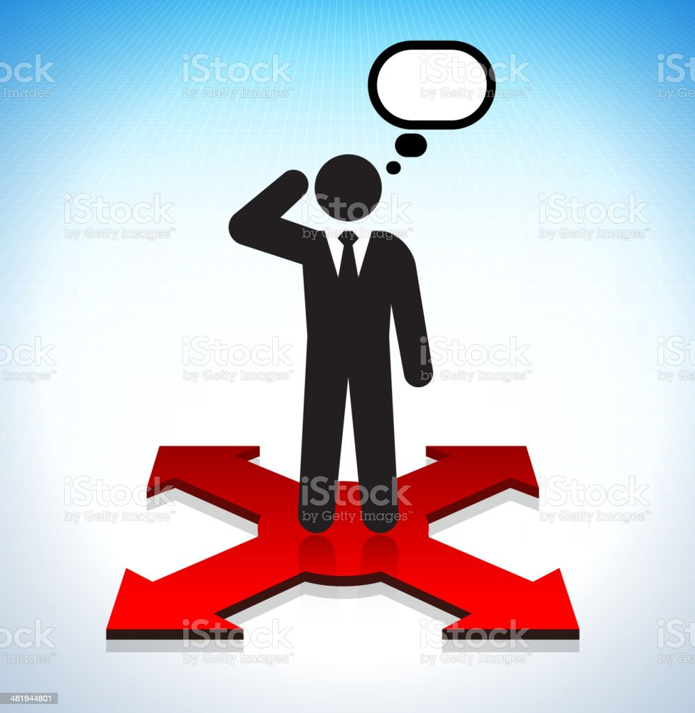 Thinking Businessman Making Choices Concept with Stick Figure royalty-free stock vector art