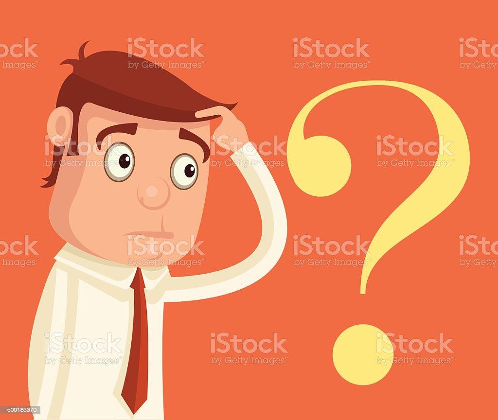 Thinking businessman. Vector flat illustration vector art illustration