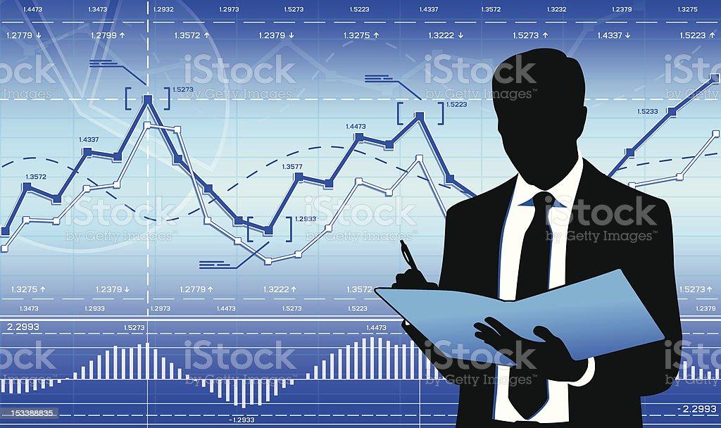 Thinking businessman vector art illustration