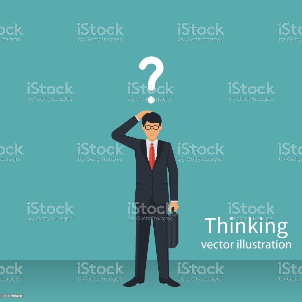 Thinking businessman vector vector art illustration
