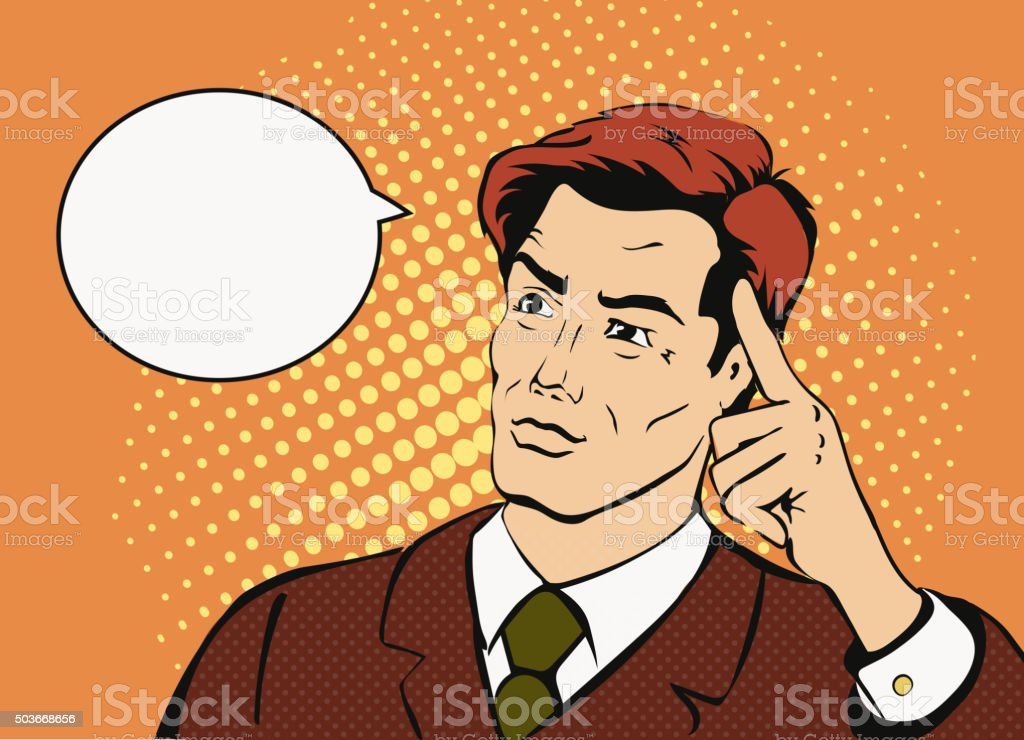 Thinking businessman   with a speech bubble. Comic style  successful man vector art illustration
