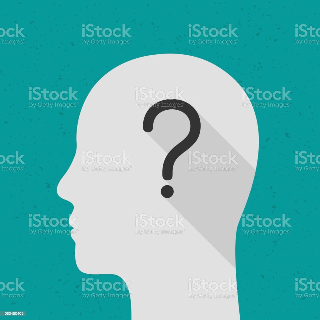 Thinking concept with question mark vector art illustration