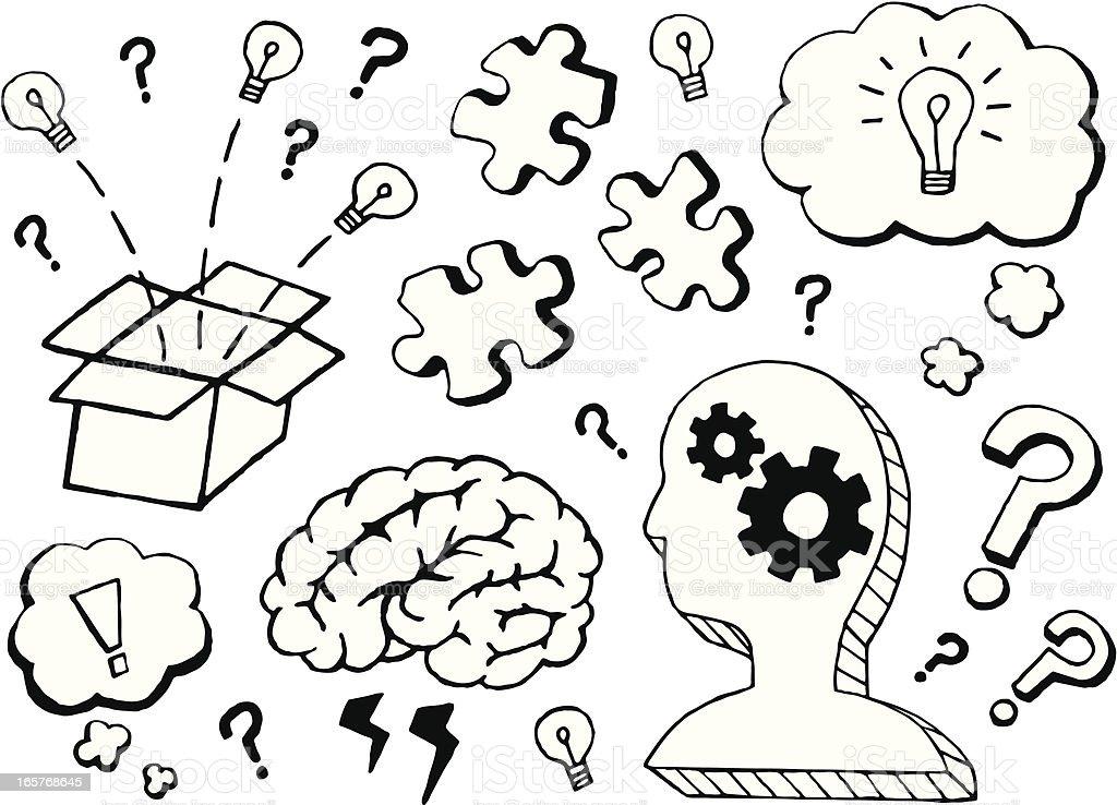 Thinking Doodles royalty-free stock vector art