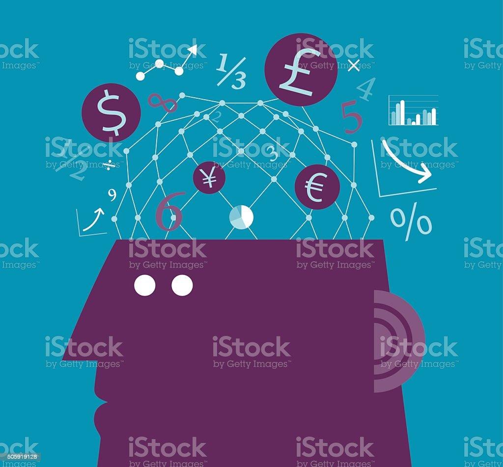 Thinking Finance vector art illustration