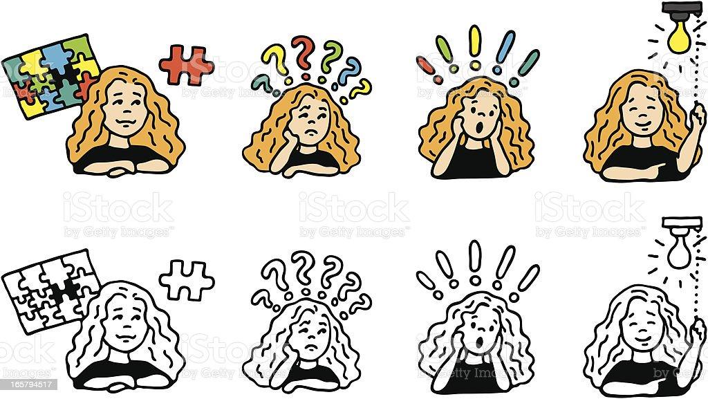 Thinking Girl royalty-free stock vector art