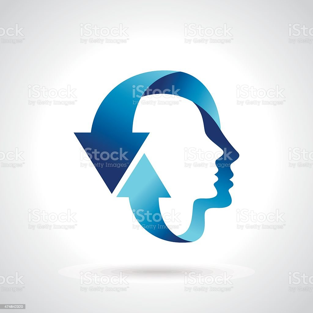 thinking head with blue arrow vector art illustration