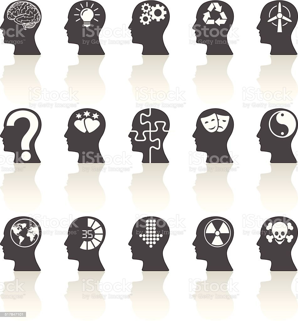 Thinking Heads Icons vector art illustration