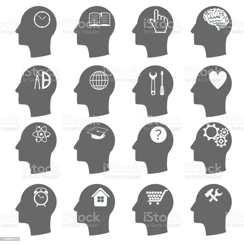 Thinking Heads Icons. vector vector art illustration