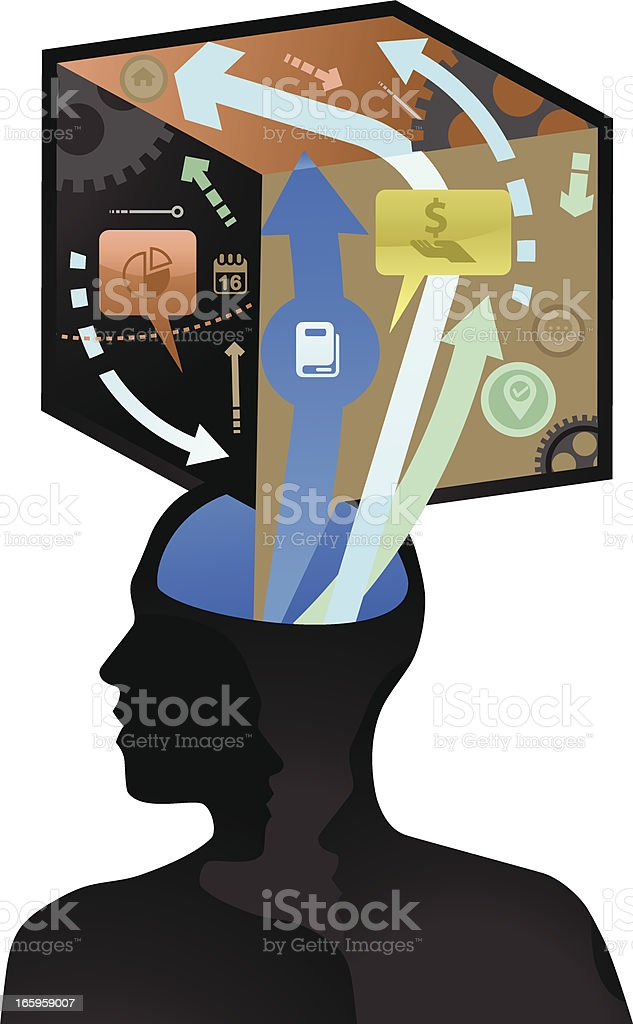 Thinking inside The Box royalty-free stock vector art