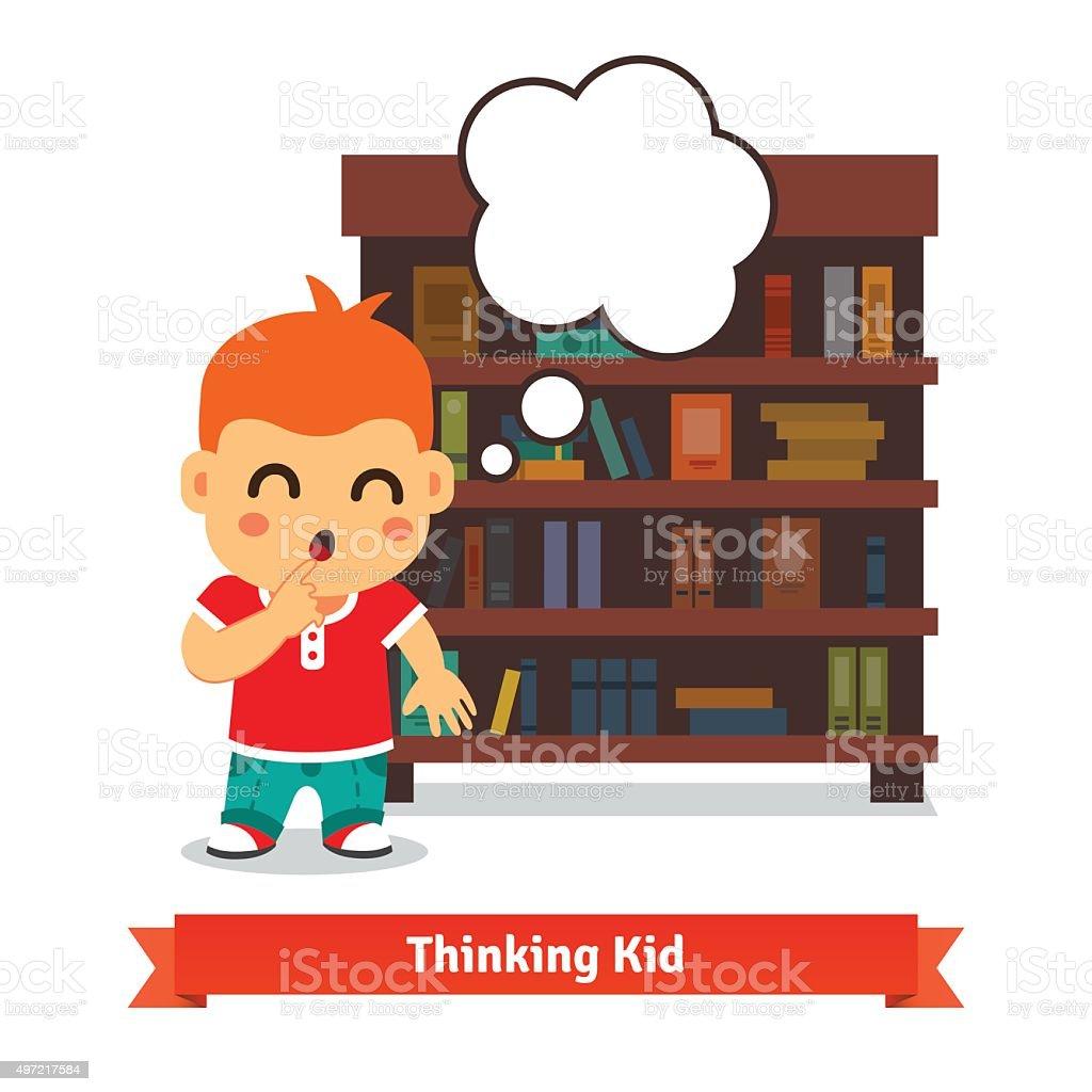 Thinking kid in front of full bookshelf vector art illustration