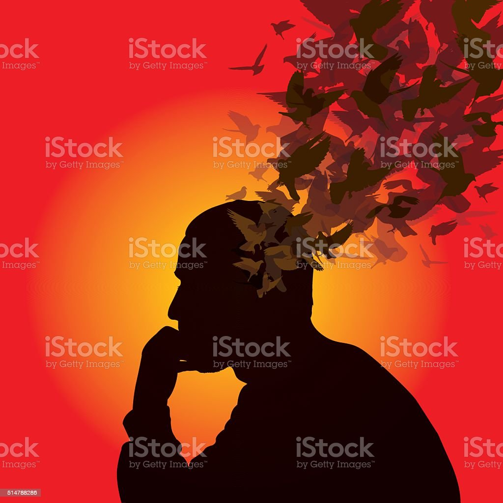 Thinking man with birds over his head vector art illustration