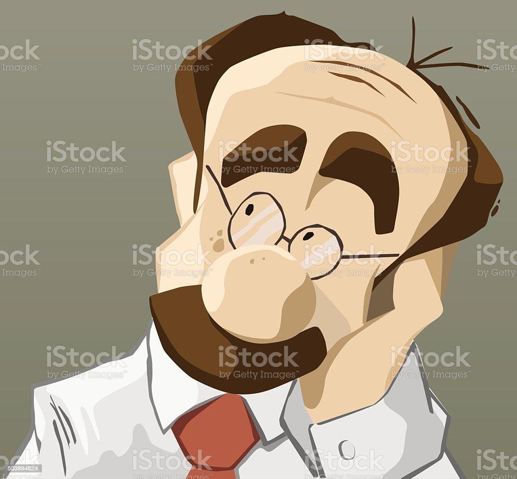 Thinking man with hand on chin vector art illustration
