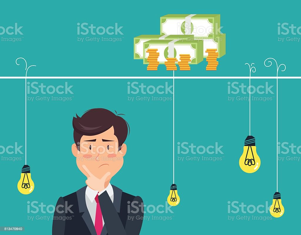 Thinking man with idea bulbs vector art illustration