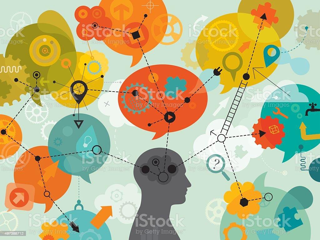 3D Thinking Mind Mapping vector art illustration