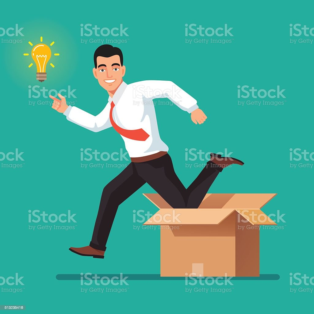 Thinking out of the box concept vector art illustration
