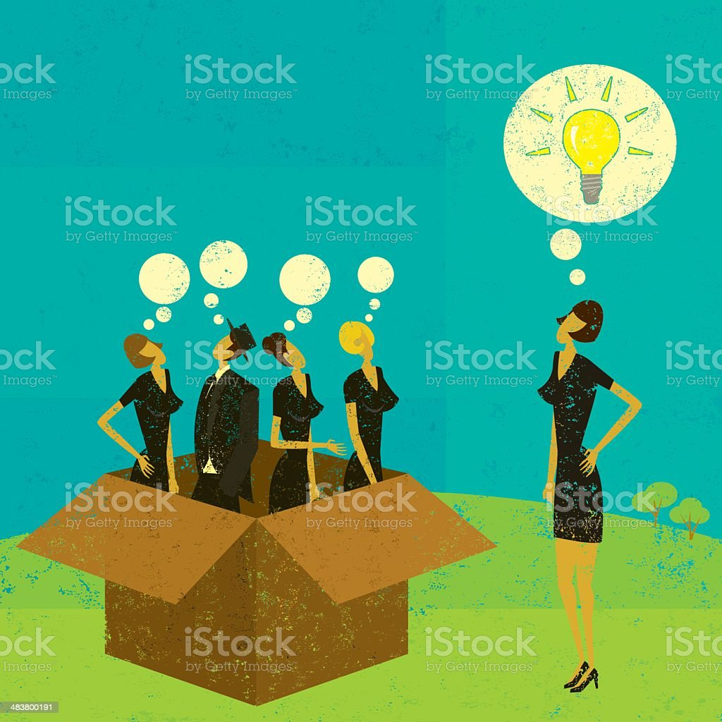 Thinking outside of the box vector art illustration