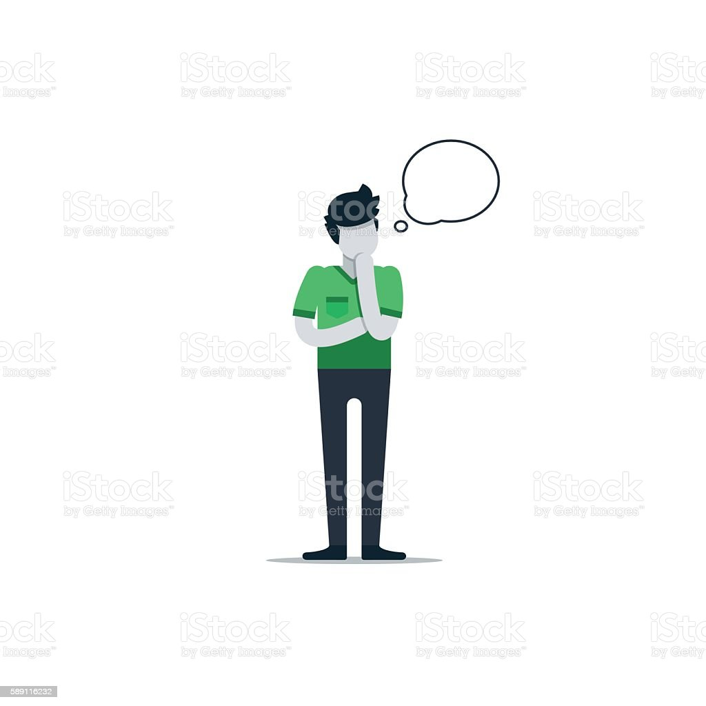 Thinking person with speech bubble isolated on white vector art illustration