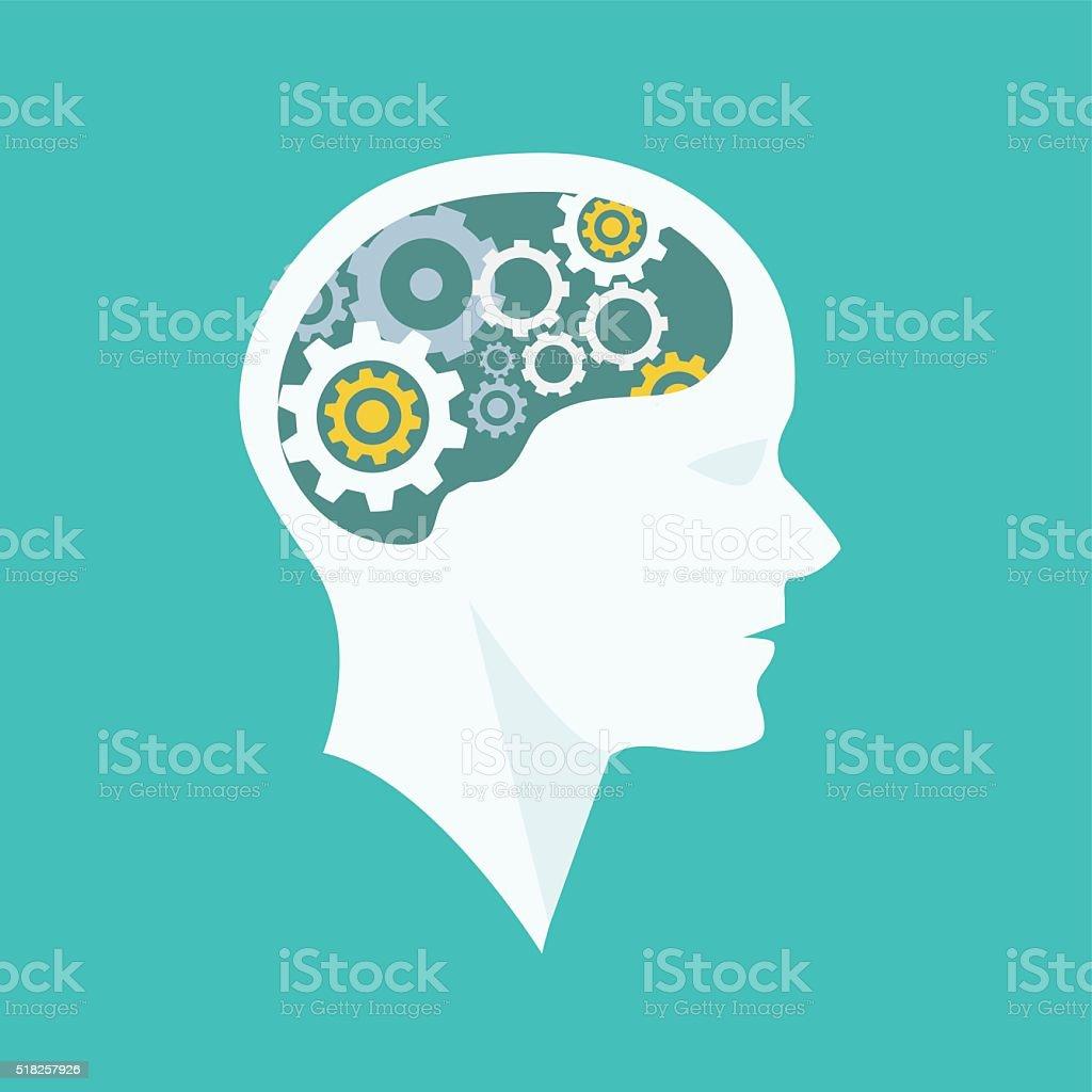 Thinking Process head brainstorming vector art illustration