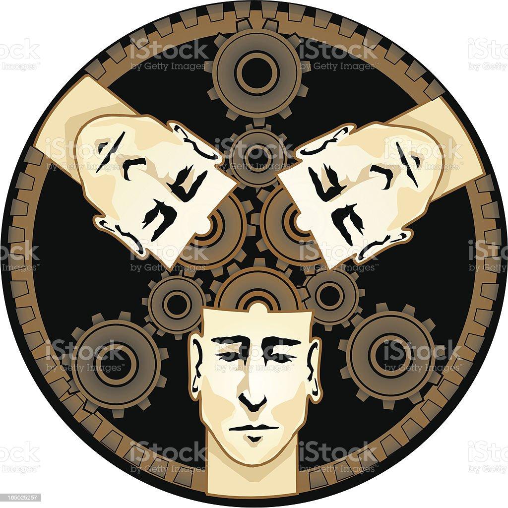 thinking team machine - VECTOR royalty-free stock vector art