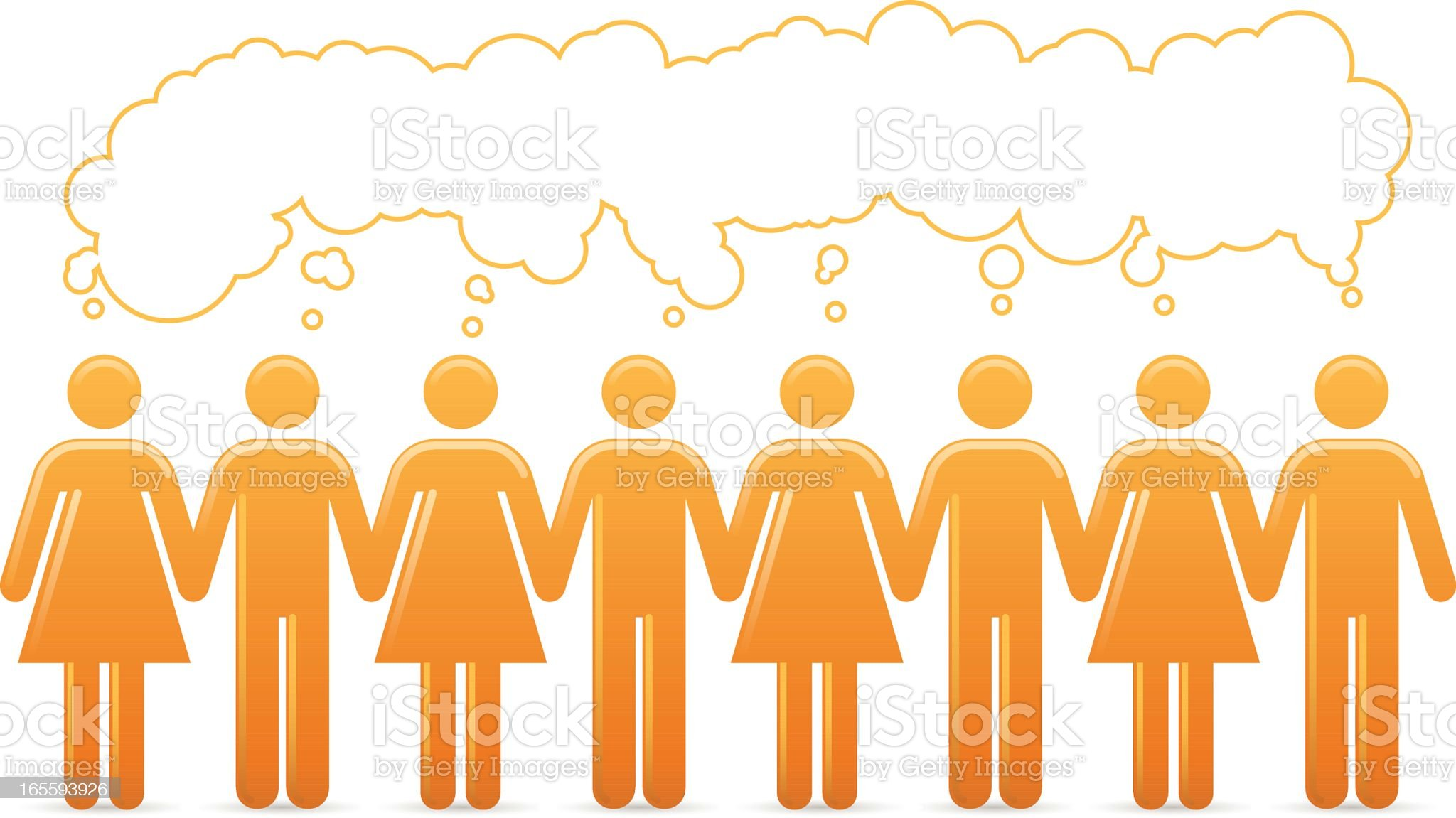 Thinking the Same Thought royalty-free stock vector art