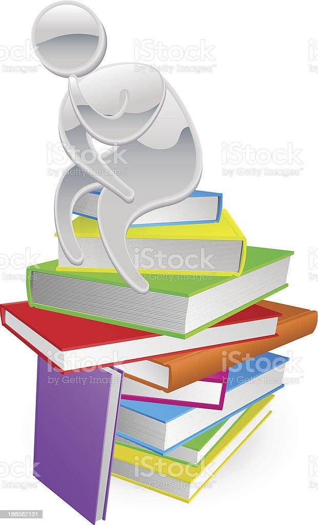 Thinking thinker on books vector art illustration