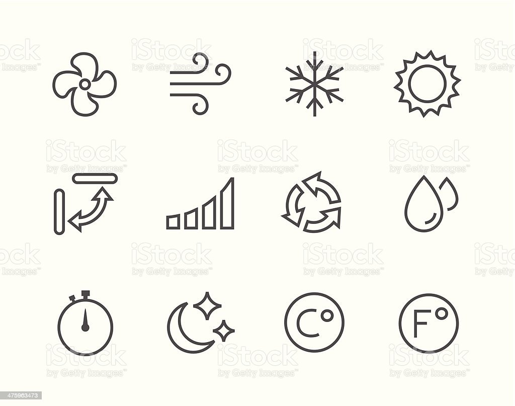 Thinline Air Conditioning Icons vector art illustration