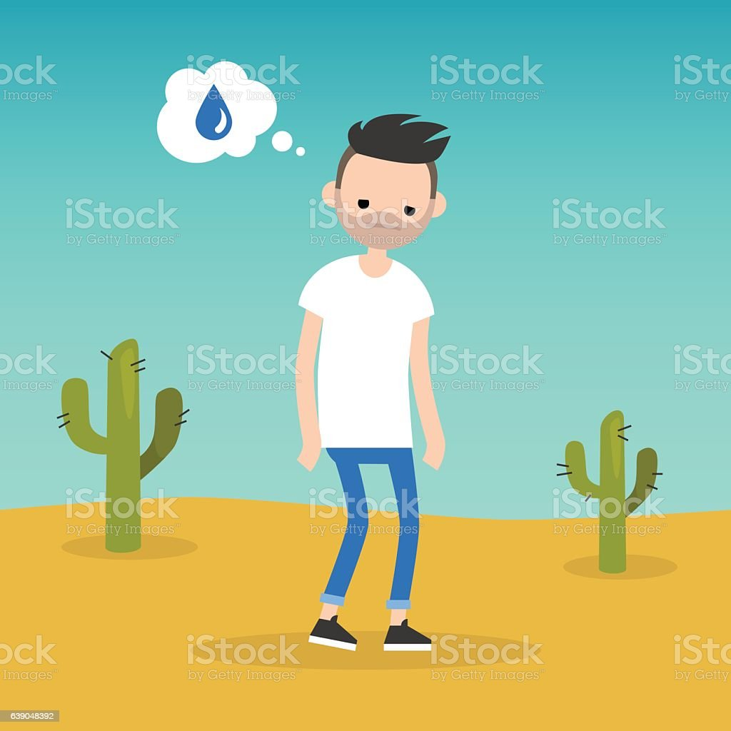 Thirsty bearded man dreaming about water vector art illustration