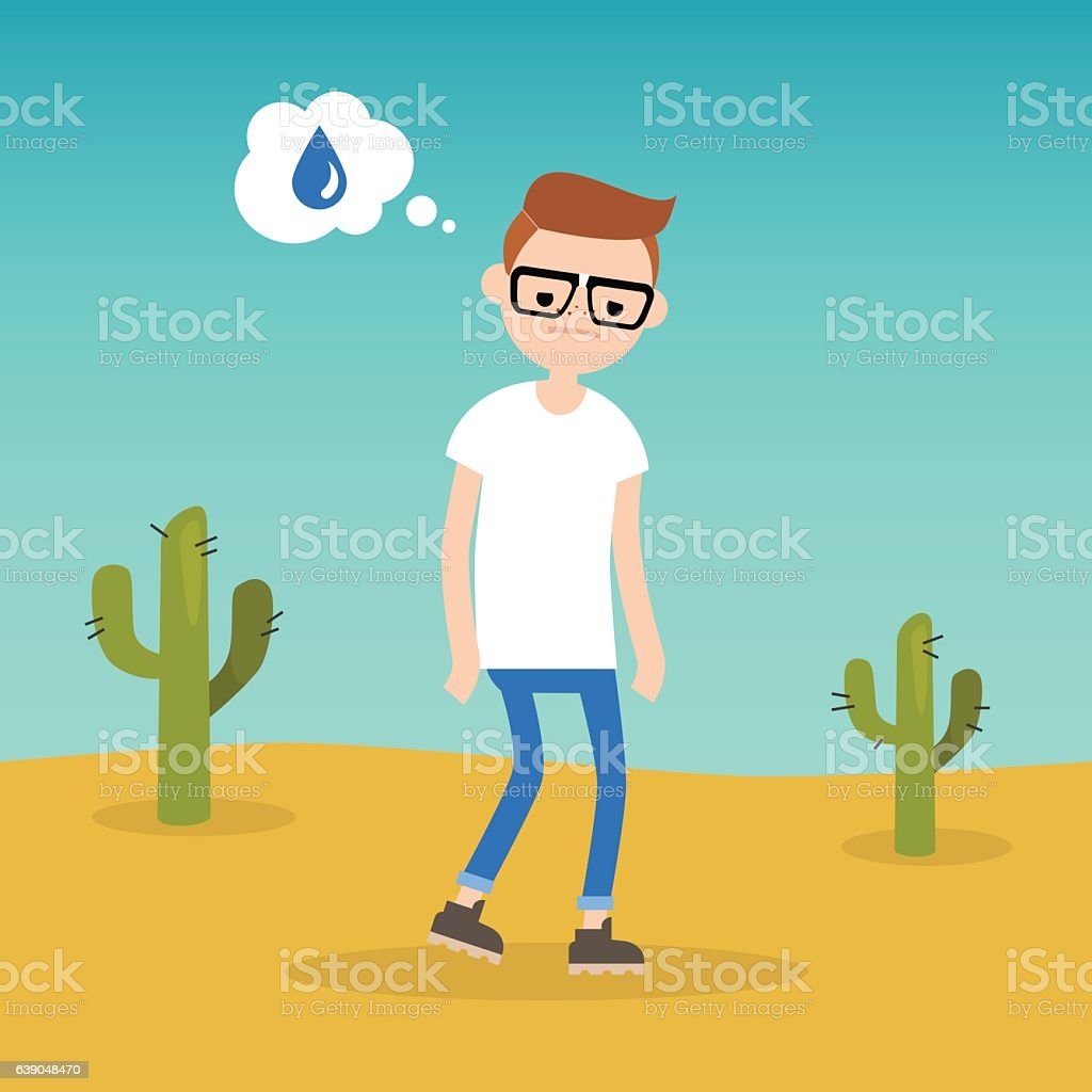 Thirsty boy dreaming about water vector art illustration