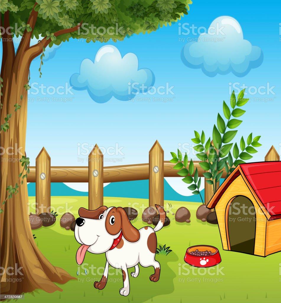 Thirsty dog inside the fence vector art illustration