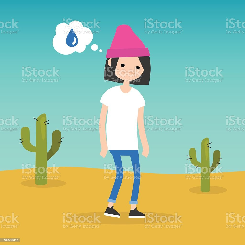 Thirsty girl dreaming about water vector art illustration