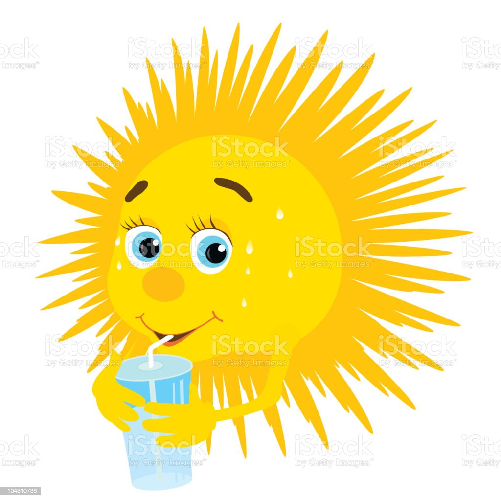 thirsty sun vector art illustration