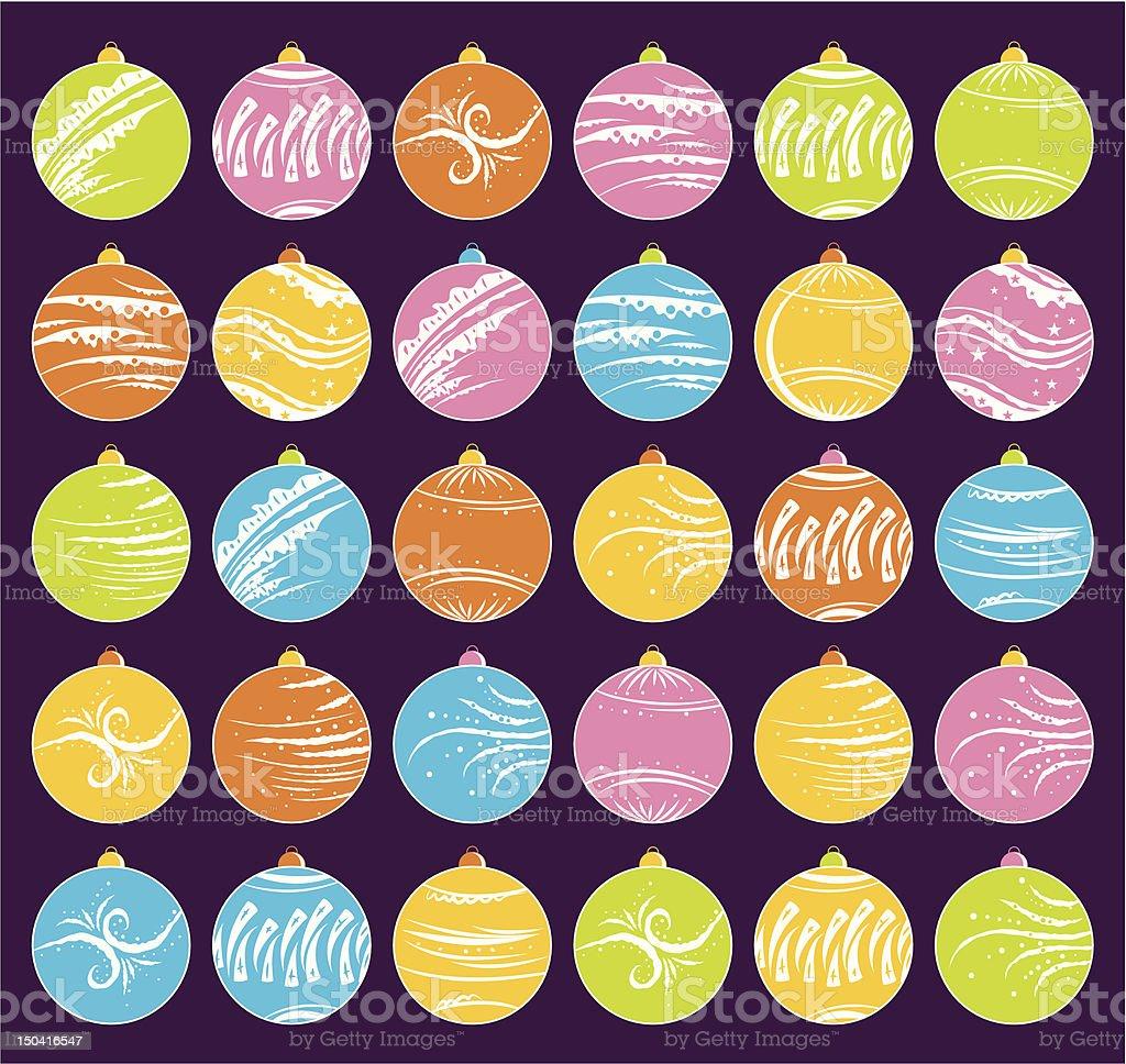 thirty  christmas balls royalty-free stock vector art