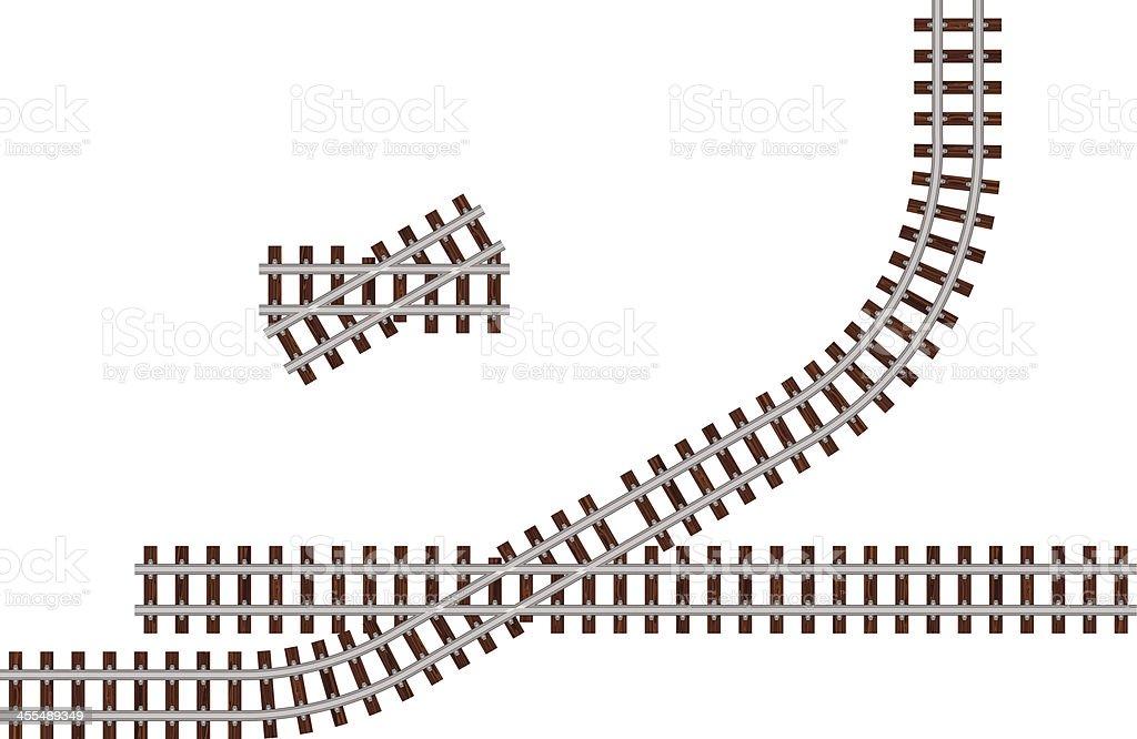 Thirty Degree Crossing Track vector art illustration