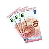 Thirty euro in bundle of banknotes of 10 euro