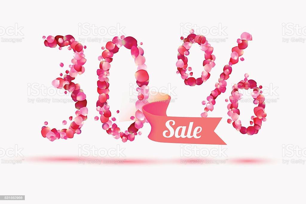thirty (30) percents sale. Digits of pink rose petals vector art illustration
