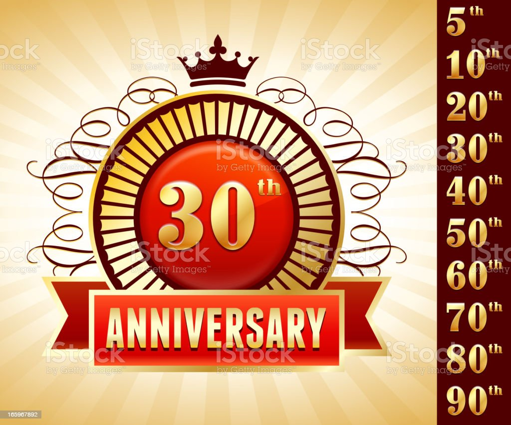 Thirty Year Anniversary Badges Red and Gold Collection Background royalty-free stock vector art