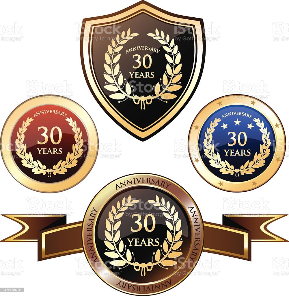 Thirty Years Anniversary Badges vector art illustration